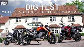 The big test - 790 Duke vs Street Triple 765 vs GSX-S750 | Visordown Road Tests