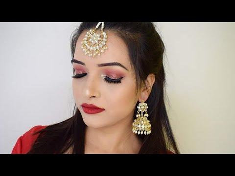 INDIAN BRIDAL MAKEUP TUTORIAL    LOOK 2    RED GLITTER EYE MAKEUP - 2018