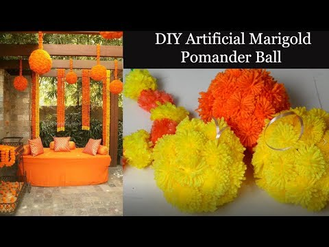 DIY- Artificial Marigold Flower pomander Balls for indian wedding Decoration | Mehandi | sangeet