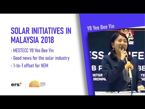 News - Solar Initiatives In Malaysia By YB Puan Yeo Bee Yin(MESTECC) 2018