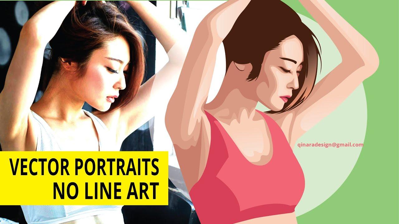 Line Art Vector Illustrator : Vector portraits no line art illustrator tutorials youtube