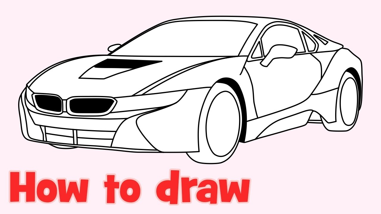 How to draw a car 🚗 BMW i8 step by step easy - YouTube