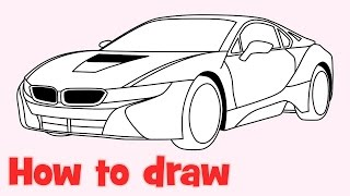 ✍ How to draw a car 🚗 BMW i8 step by step easy ❤