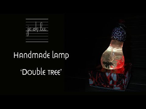 Handmade lamp 'Double tree', epoxy resin + polymer clay