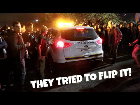 THEY TRIED TO FLIP THE SECURITY CAR! Car Meet Gone Wild