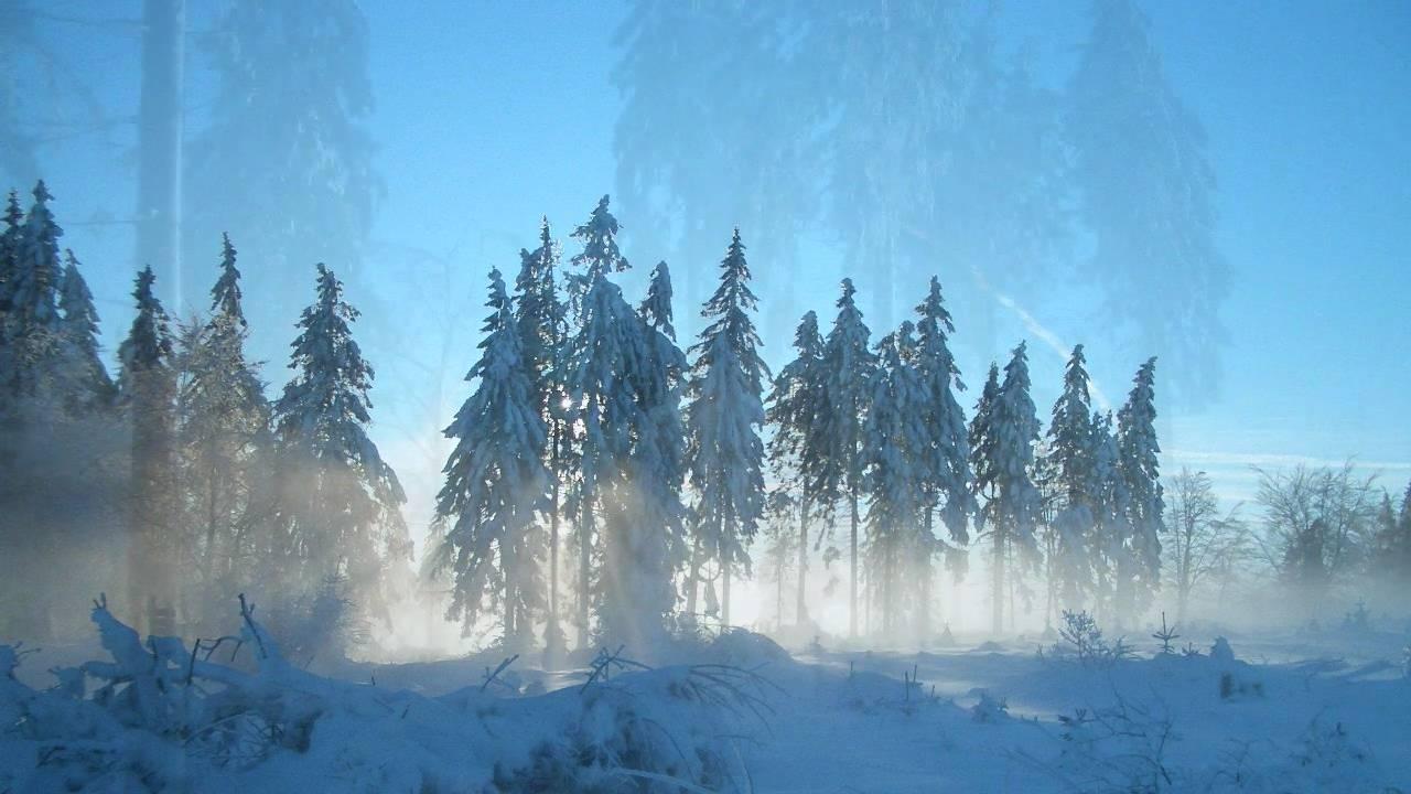 winter landscape with spoken inspirational