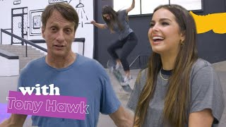 SKATEBOARDING WITH TONY HAWK!!! | Addison Rae
