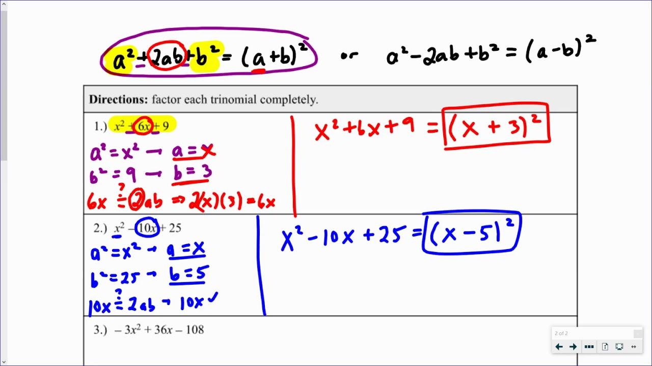 Perfect Square Trinomials   Video 2   YouTube