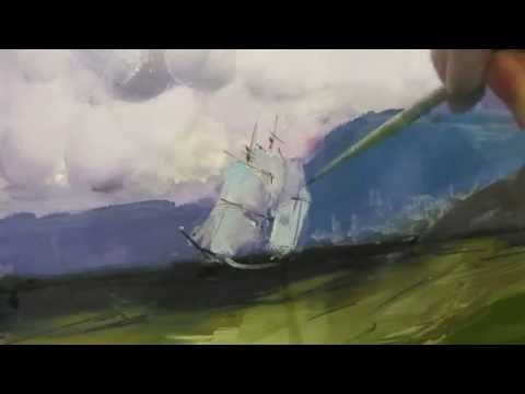 Oil painting. Seascape. Near the shore. Full video. Learning from Aivazovsky paintings.