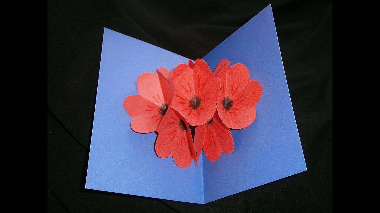 Bedwelming Moederdag prachtige bloemen pop up kaart zelf maken (snelle versie @EI79