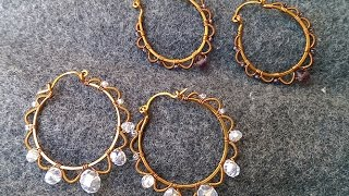 Round earrings - handmade copper jewelry 37