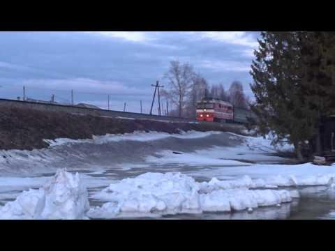 ТЭП70 с чётным пригородным Киров-Луза