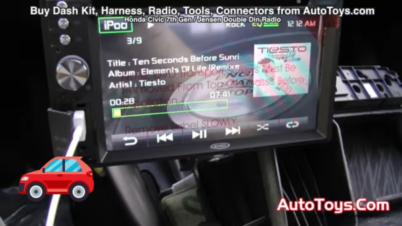 Honda civic jensen double din radio install with dvd iphone 5 sd mp3 8th gen youtube
