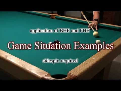 "Back-Hand (BHE) and Front-Hand English (FHE) - from ""How To Aim Pool Shots (HAPS)"" - NV E.2"