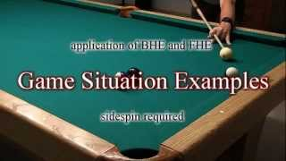 """Back-Hand (BHE) and Front-Hand English (FHE) - from """"How To Aim Pool Shots (HAPS)"""" - NV E.2"""