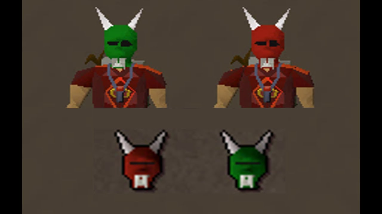 Runescape 2007 - Green + Red H'ween Mask from Killing a Jagex Mod ...