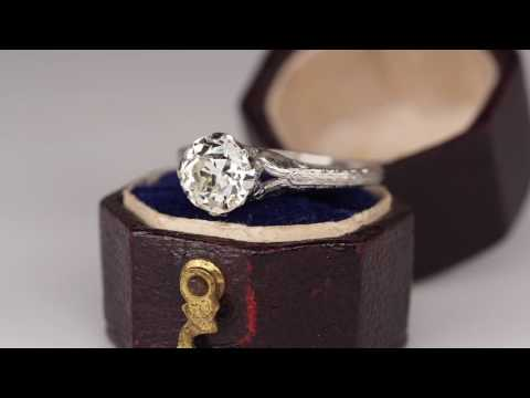 Edwardian Era Antique Diamond Engagement Ring Platinum Filigree 1910