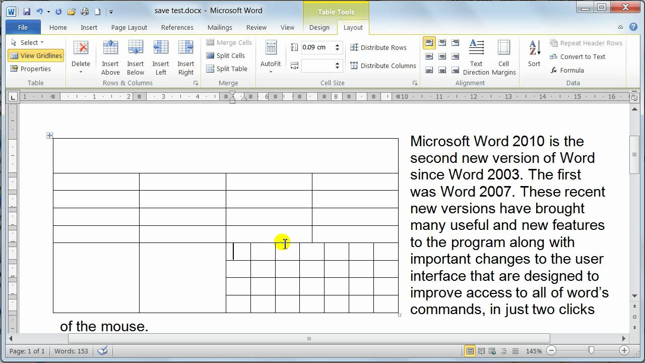 Microsoft Word 2010 formatting Tables - Table properties ...