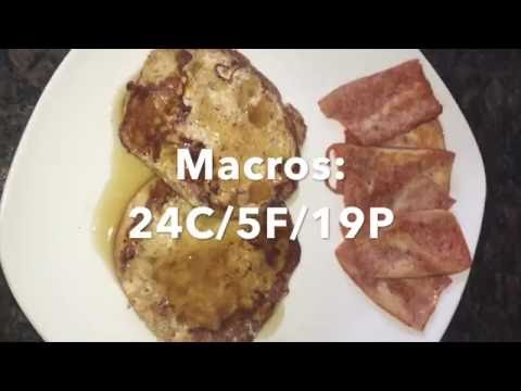 IIFYM Breakfast - English Muffin French Toast + Chicken Bacon