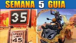 Fortnite CHALLENGE GUIDE Woche 5 - Flaming Circles, Speed Record & Secret Star!