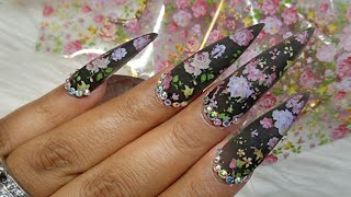 Translucent Black Nails With Floral Foil🌸 English