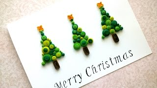 Simple Merry Christmas Card: Quilling Christmas Card with Tree