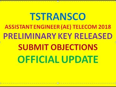 TSTRANSCO AE TELECOM PRELIMINARY KEY RELEASED | SUBMIT OBJECTIONS | AE OFFICIAL KEY OF ABCD CODES