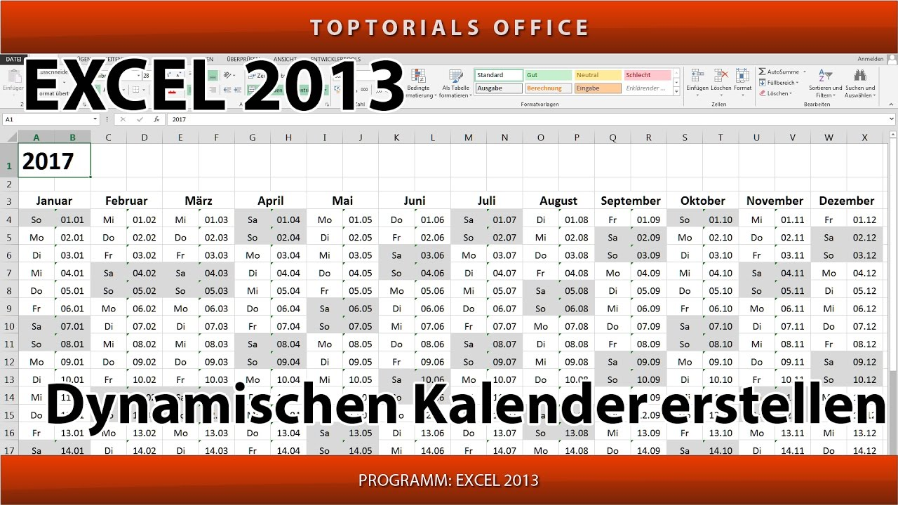 dynamischen kalender erstellen download excel youtube. Black Bedroom Furniture Sets. Home Design Ideas