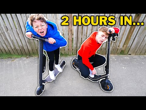 LAST TO STOP RIDING ELECTRIC SCOOTER WINS!! - Challenge