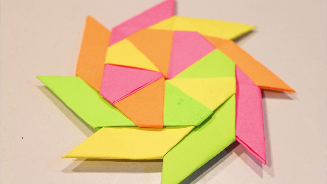 Origami how to make ninja stern fan with sticky notes for Sticky paper for crafts