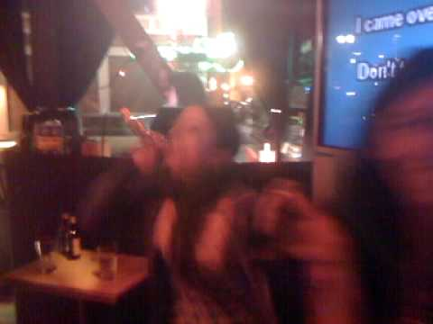 Stacy and Jenn karaoke at Boiler Room in Portland