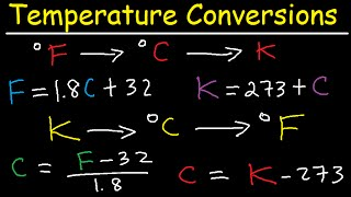 Celsius to Fahrenheit to Kelvin Formula Conversions - Temperature Units C to F to K
