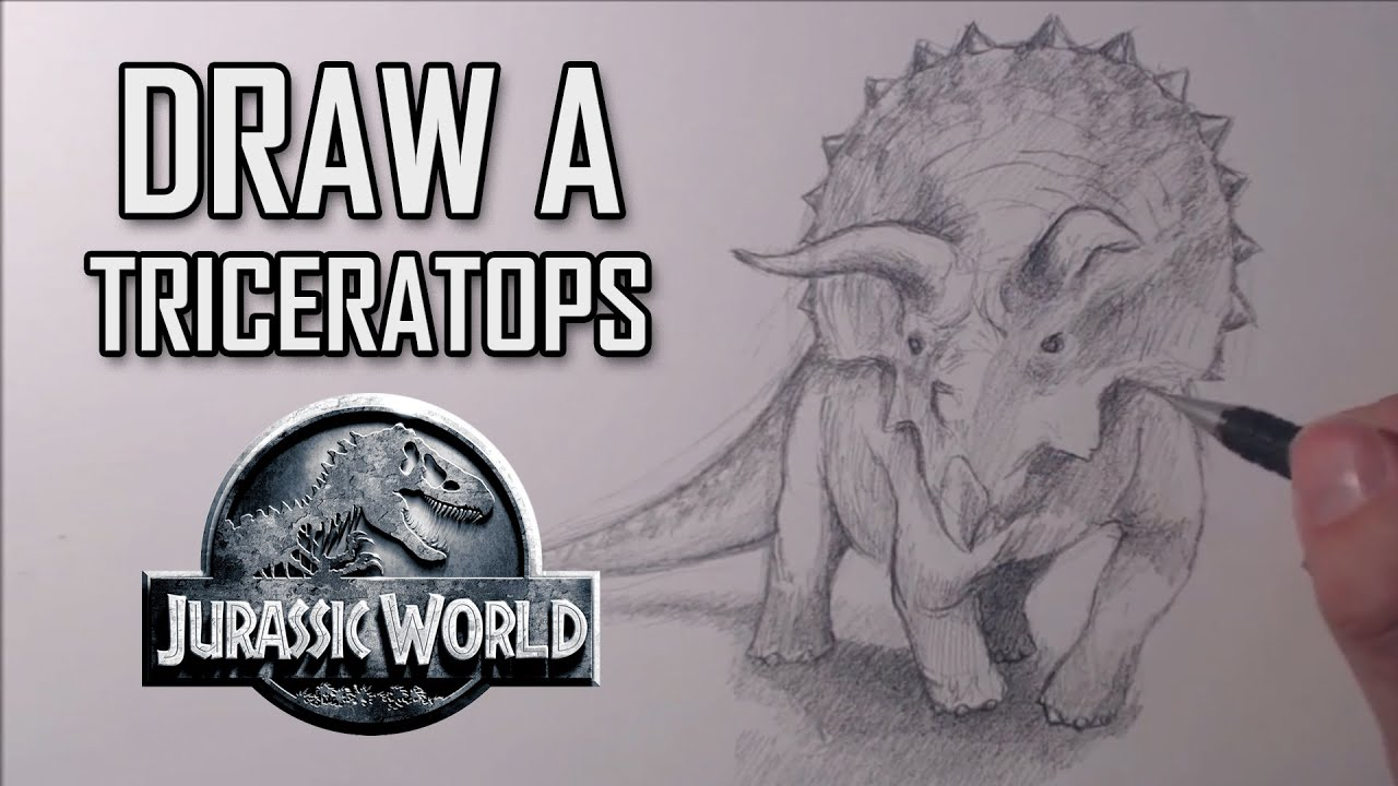 how to draw a triceratops from jurassic world youtube
