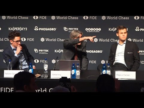 Carlsen's perfect reply to a dumb question (World Chess Championship 2018, Rd 9)