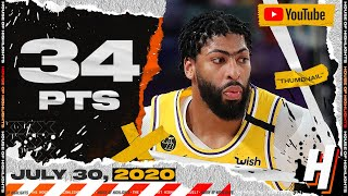 Anthony Davis 34 Points Full Highlights | Clippers vs Lakers | July 30, 2020