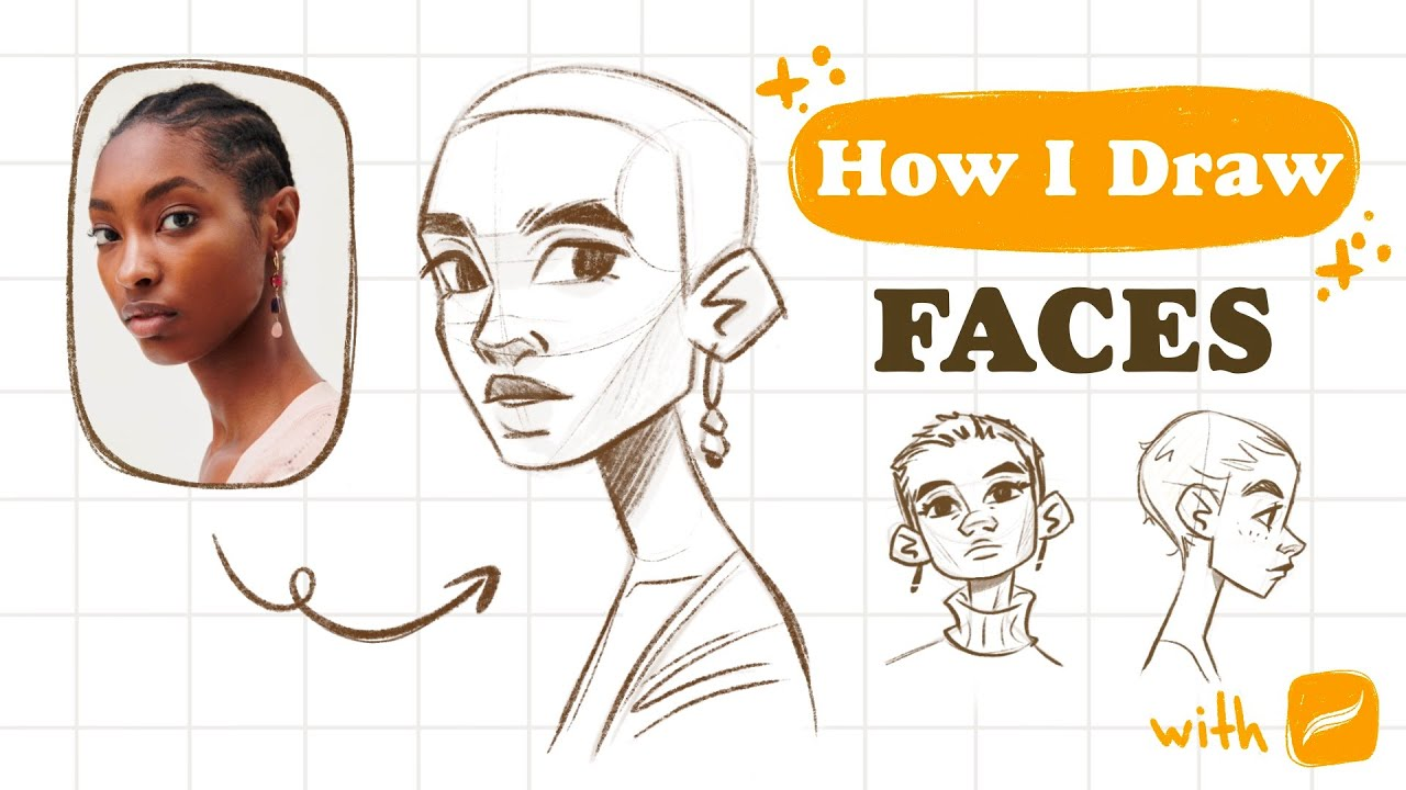 How I DRAW FACES step by step   Mistakes & tips   Procreate sketch    👽