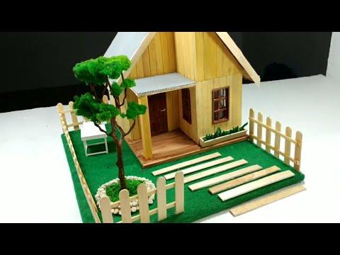 Diy Miniatur Rumah Sederhana Dari Stick Es Krim Youtube