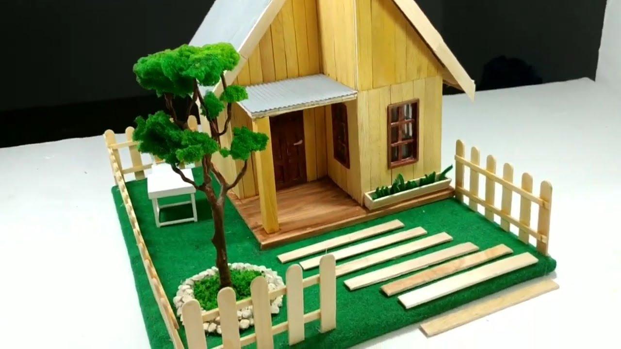 Diy Miniatur Rumah Sederhana Dari Stick Es Krim Youtube Pagar dari stik es krim