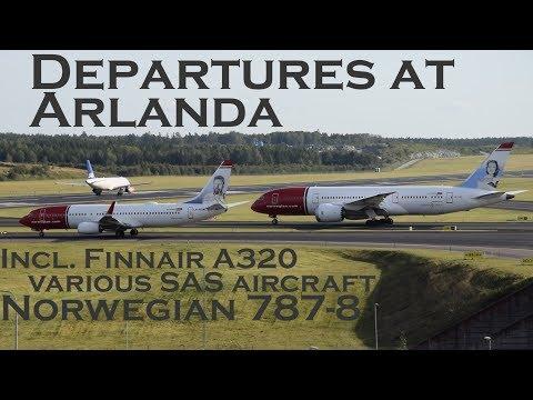 Departures at Stockholm Arlanda (incl. Finnair A320, Norwegian 787-8 & various SAS aircraft)