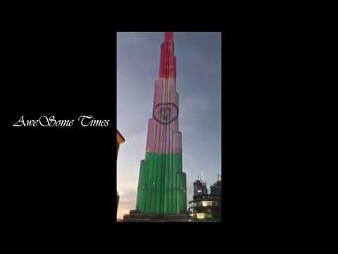 Indian flag on world tallest building Burj khalifa / Independence Day in Dubai from Awesome times