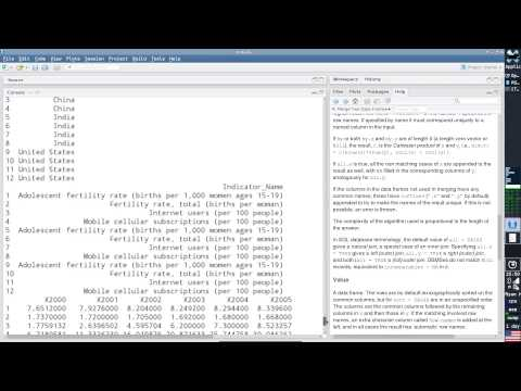 Intro to R Session 3.5 (Data Manipulation - World Bank Data)