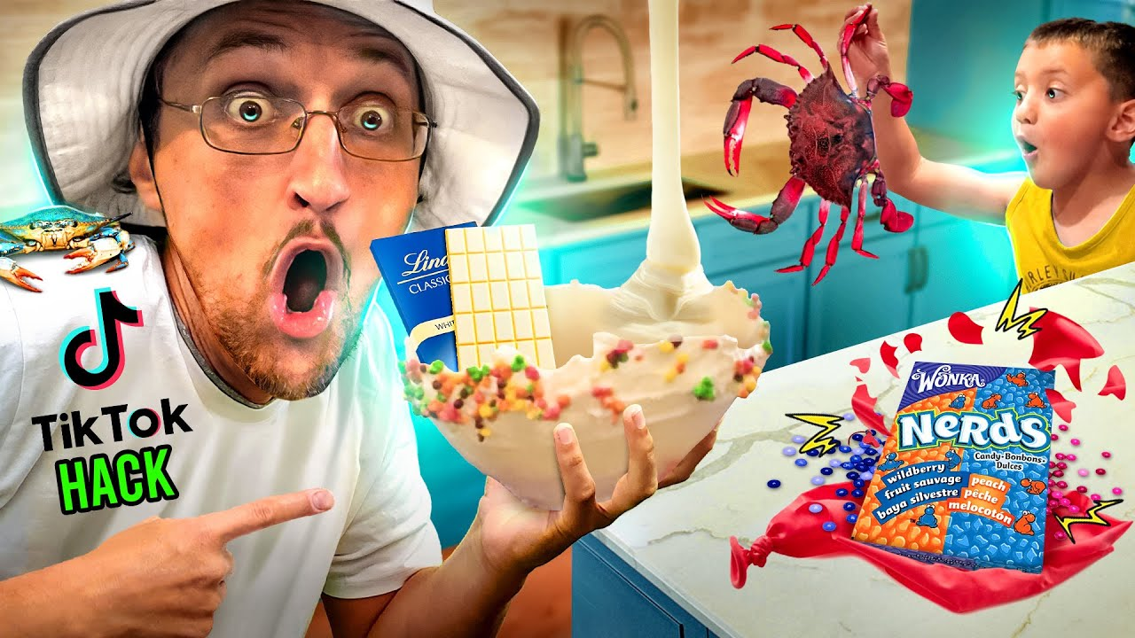 TIK TOK Food Hack! + Ghost Crabs Scare Hunt! 👻🦀=🍴 (FV Family Beach House Vlog)