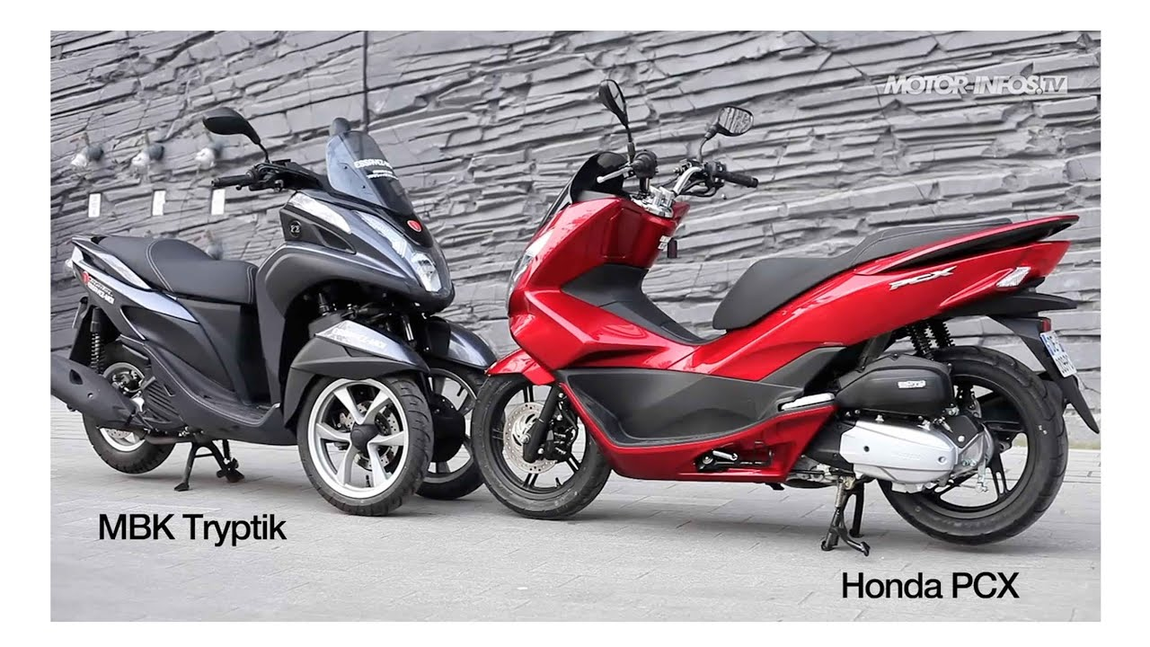 comparatif yamaha tricity 125 mbk tryptik versus honda pcx 125 youtube. Black Bedroom Furniture Sets. Home Design Ideas
