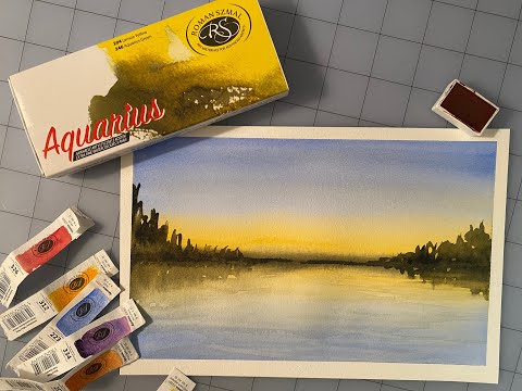 Roman Szmal Aquarius Watercolor Quick Review and Simple Landscape Painting