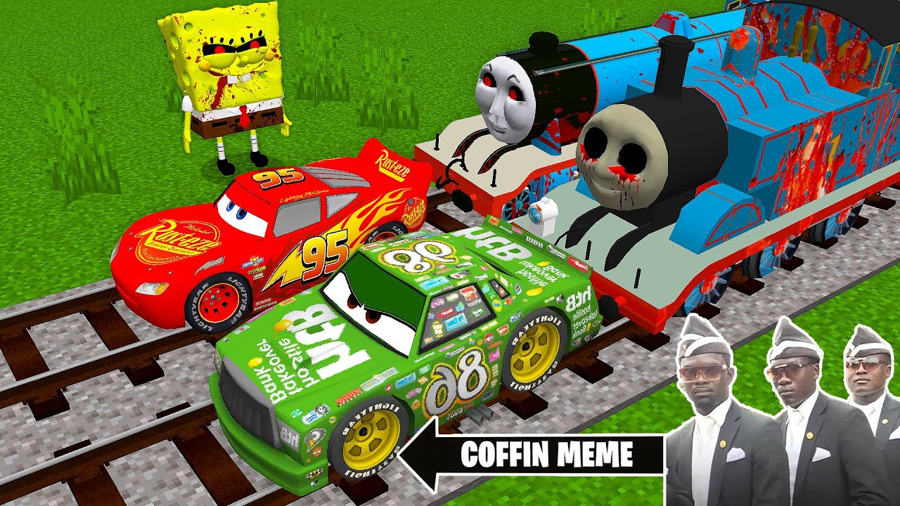 Download THOMAS THE TANK ENGINE.EXE and FRIENDS vs LIGHTNING MCQUEEN in Minecraft - Coffin Meme and SPONGEBOB