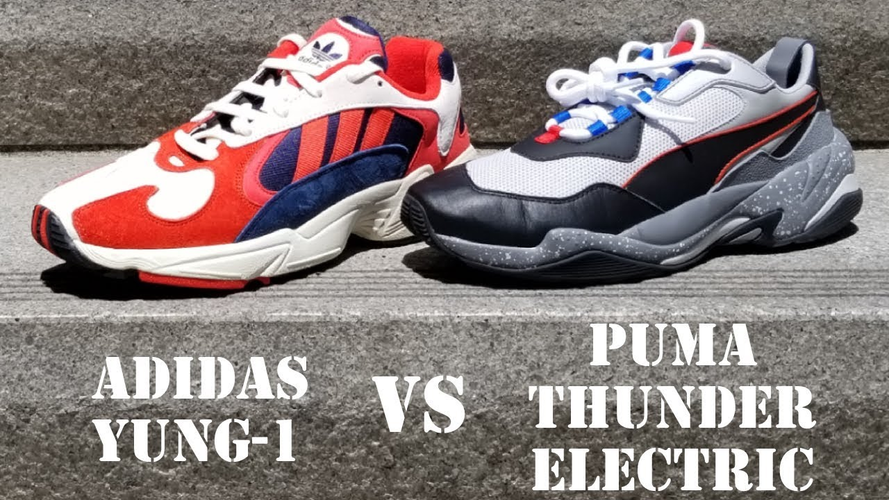 60b6a92c87d9 Battle of  130 Chunky Sneakers- Adidas Yung-1 vs PUMA Thunder Electric