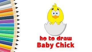How to Draw Baby Chick | Animals | #Cartooning 4 Kids