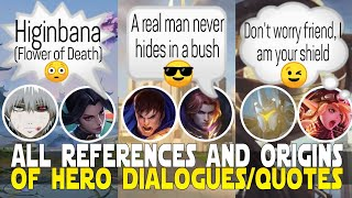 ALL REFERENCES/INSPIRATIONS OF HERO DIALOGUES | HERO LINES ORIGIN | MOBILE LEGENDS