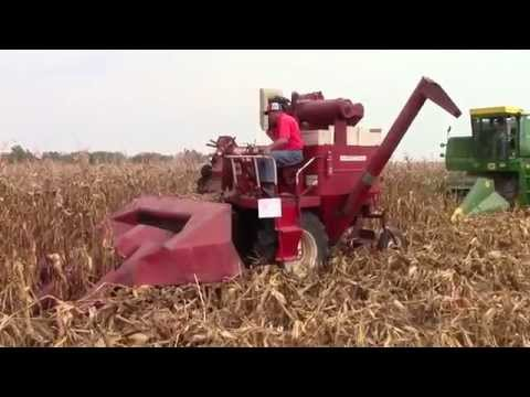 Combines Shelling Corn at the 2015 Half Century of Progress Show