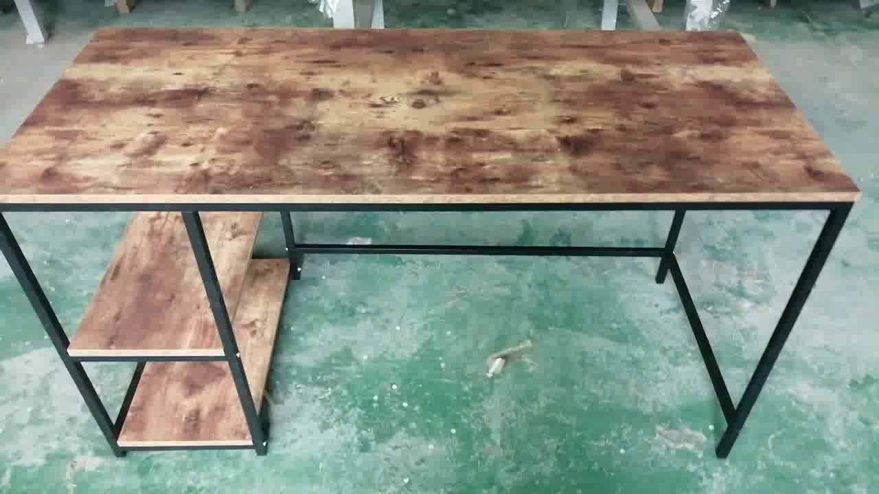 Cheap Price Industrial Home Metal Frame Simple Wooden Computer Table Design